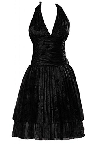 Sunvary-Canotta con collo a V, in Organza, con parte posteriore aperta Cocktail Homecoming vestiti Black