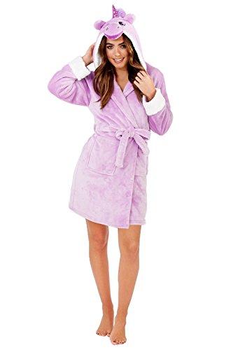 Lora Dora Damen kurzer Luxus-Fleece-Bademantel mit Gürtel, Damen-Bademantel, Größe UK 8–18 Gr. L, Lilac Unicorn -