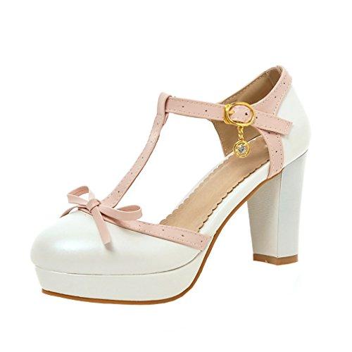 YE Damen T Strap Pumps Blockabsatz High Heels Sandalen Plateau mit Riemchen und Schleife 9cm Absatz Süß Retro Schuhe