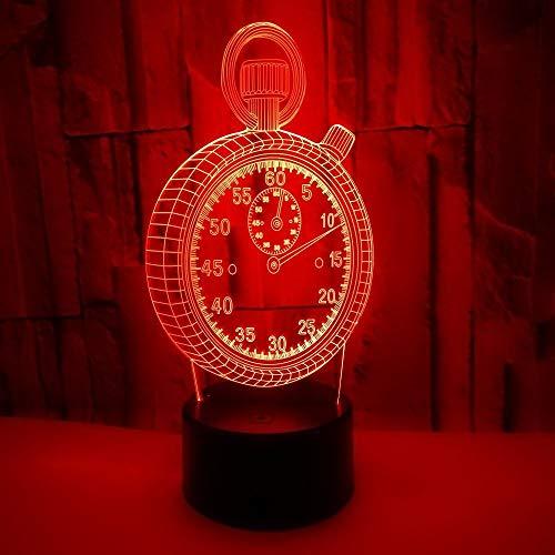 Lampada 3d, orologio, luce notturna 3d interruttore a sfioramento telecomando 3d luce colorata gradiente desktop decorazione piccola lampada da tavolo