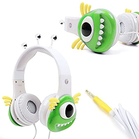 Colourful Green and White Children's Monster Headphones - Compatible with Leapfrog LeapPad, Explorer, Platinum, Epic, Leapster