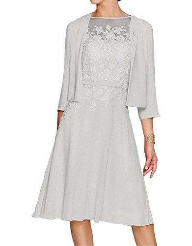 Prom Kleider 2014 (HWAN Damen A Line Applikationen Kurz Mutter der Braut Kleid mit Jacke Bolero Silber)