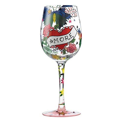 Enesco Lolita copa de vino de cristal, vidrio, multicolor, 8.5 x 8.5 x 22.5 cm