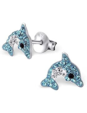 SL-Collection Ohrringe Kinderohrringe Delfin Kristalle in zwei Farben 925 Silber