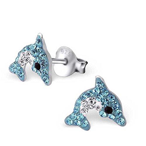 SL-Collection Ohrringe Kinderohrringe Delfin Kristalle in zwei Farben 925 Silber , Farbe:Blau