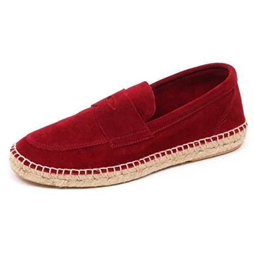 ABARCA D2596 mocassino uomo red leather espadrillas shoe loafer man Rosso scuro