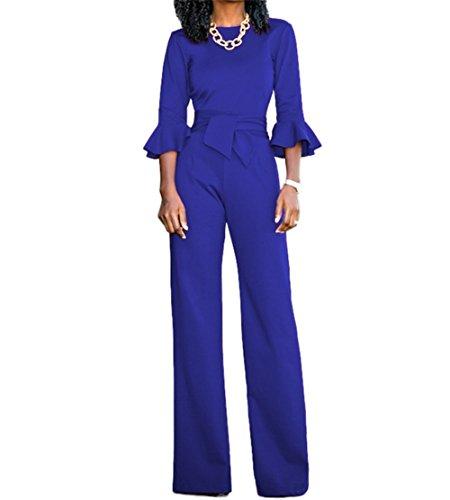 Voghtic Damen Elegante Solid Color O Neck Loose Hose Half Sleeve Overall Spielanzug mit (Jumpsuit Blauer)