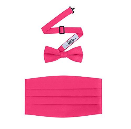 S. H. Churchill Herren Set aus Fliege und Kummerbund, Satin, Hot Pink Hot Pink Cummerbund-set
