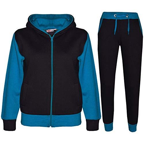 A2Z 4 Kids® Kinder Trainingsanzug Mädchen Jungen Designer Plain Kontrast - T.S Plain 101 Blue 11-12