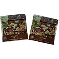 BWG Set Of 8 Vintage Farm Horse Scene Coasters