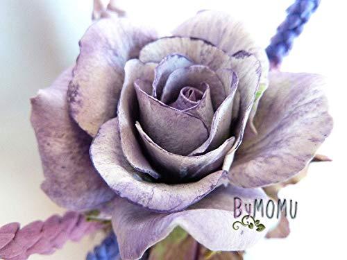 Purple ROSES Miniatur Blumen kalt Porzellan Home Decor-Hand Made - Blume Home Decor