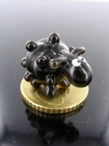 Schaf Mini Glas 3 - Schaf Schwarz Miniatur Glasfigur - Glastier Schwarzes Schaf Deko