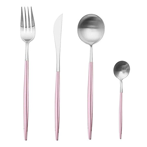 Pink and Silver Dinnerware Set, Aolvo 4 Piece Brushed Stainless Steel 18/10 Flatware Set Including Fork Spoons Knife for Everyday Use or Travel