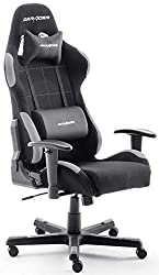 Robas Lund OH / FD01 / NG DX Racer 5 gaming / office / desk chair, with rocking function Gamer chair Height-adjustable swivel chair PC chair Ergonomic executive chair, black-gray
