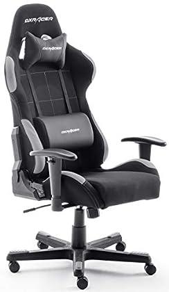 Robas Lund, DX Racer 5 - Silla de escritorio/oficina/ gaming, 74 x 52 x 123-132cm, madera, con ruedas, altura ajustable, tapizada, reposabrazos, negro y gris