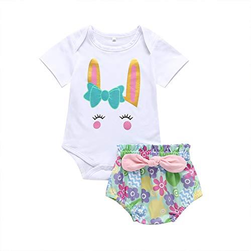 Baby Schlafstrampler Bekleidungssets Kleinkind Baby Kinder MäDchen Kaninchen Bunny Tops Dot Kurze Hosen Casual Outfits Festliche Taufe Langarm Kleikind ()