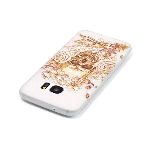 Coque Samsung Galaxy S6 Edge TPU Case Cover Absorption de Choc Hull, Vandot Samsung Galaxy S6 Edge Etui Silicone Souple Transparente Case Très Légère Housse Ajustement Parfait Coque pour Samsung Galax Light-crâne