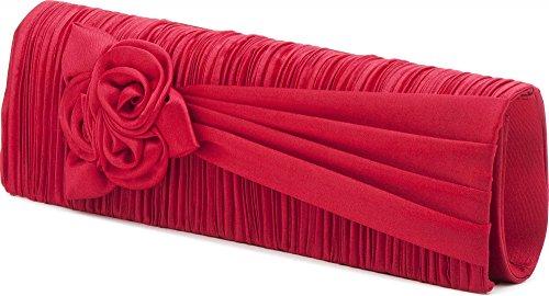 VINCENT PEREZ, Abendtaschen, Clutch, Umhängetaschen, Unterarmtaschen, Satin, Raffung, Blumen-Applikation, 25,5x9,5x4,5cm (B x H x T) Rot (Koralle)