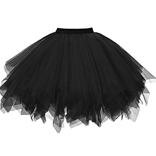 DresseverBrand Damen Petticoat 50er Rockabilly Jahre Retro Tutu Ballet Tüllrock Cosplay Crinoline Schwarz ()