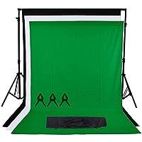 Phot-R 2mx2.26m regolabile di sostegno del contesto schermo Heavy Duty professionale Photo Video Studio Stand Kit sistema con 3x 1.8mx3m Nero Bianco Chroma key verde 100% mussola di cotone di colore Sfondi 3 clip mussola + custodia da trasporto