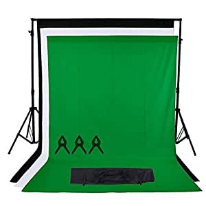 Phot-R 2x2.26m Adjustable Heavy Duty Professional Photo Studio Backdrop Screen Support Stand System Kit 3x 1.6m x 2.1m Black White Chroma Key Green Non-Woven Backgrounds 3 Muslin Clips Carry Bag