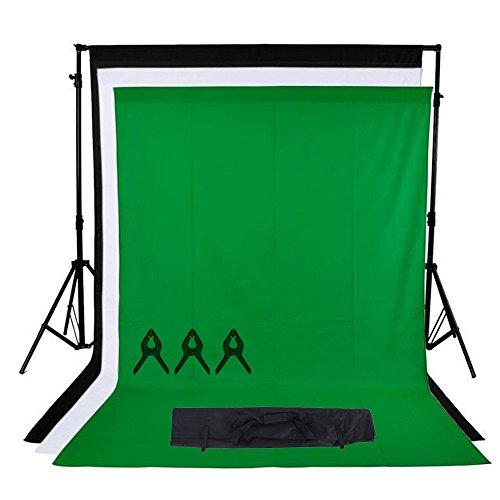 Phot-R 2mx3m regolabile Heavy Duty Photo Professional Studio del contesto di sostegno dello schermo Stand Kit sistema con 3x 3mx3m Nero Bianco Chroma key verde 100% mussola di cotone di colore Sfondi 3 clip mussola + custodia da trasporto