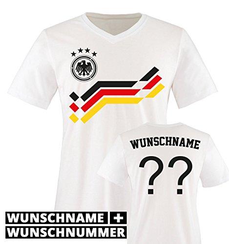 EM 2016 - RETRO-TRIKOT - WUNSCHDRUCK - Herren V-Neck T-Shirt - Weiss / Schwarz-Rot-Gelb Gr. - Braut-fans