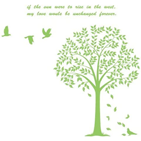Creativa personalizada simples pegatinas de pared árbol de duende verde claro