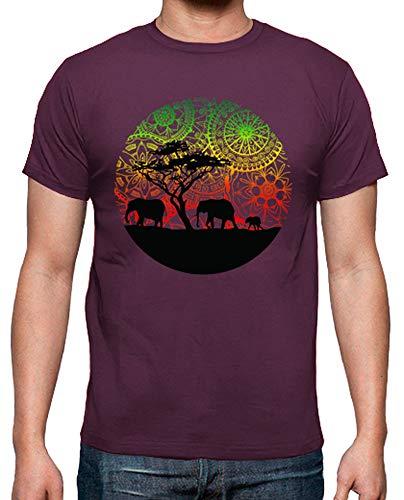latostadora - Camiseta Familia Elefantes para Hombre Burdeos S