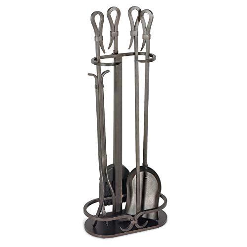 Pilgrim 18043 Home and Hearth Kamingarnitur aus der Serie Gate aus Eisen, 28 Ω, 18 kg, brüniert, Schwarz Ω-serie