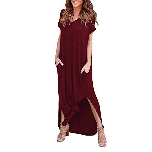 VEMOW Damenmode Tasche Lose Kleid Damen Rundhalsausschnitt beiläufige Tägliche Lange Tops Kleid Plus Größe(Z3-Rot, EU-46/CN-L)