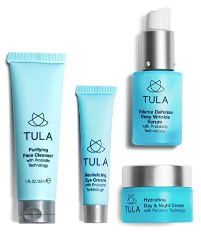 Tula Skin Care Anti-Aging Discovery Set mit Probiotische Technologie–transportfreundlicher Starter-Kit mit Cleanser, Tag & Nacht Feuchtigkeitsspender, deep wrinkle serum, & Eye Creme für hydratisierte und Junge Haut
