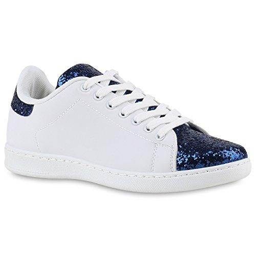 Sportliche Damen Sneakers | Sneaker Low Metallic Lack | Turnschuhe Muster Glitzer | Retro Flats Schnürer | Animalprints Veloursleder-Optik Dunkelblau Dunkelblau Glitzer