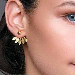 Goldene Ohrjacke Blumenohrringe aus Sterlingsilber, Statement-Minimalohrringe, Ohrringe vorne und hinten, ungewöhnliche…