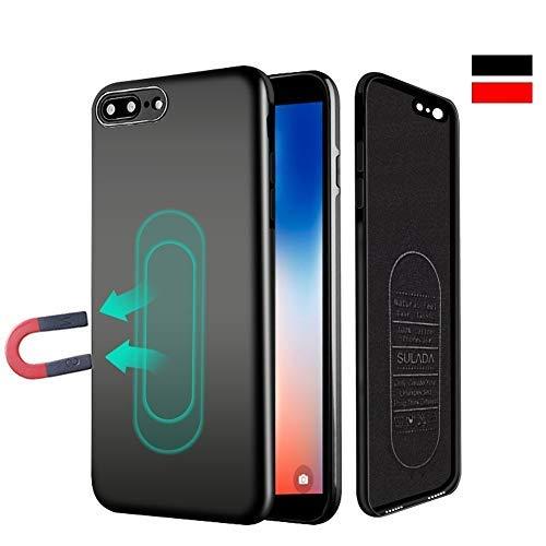 iPhone 6/6s Hülle, [für Magnetische Halterung] Ultra Dünn Soft TPU Handyhülle mit Eingebauter Metal Plate für Magnet KFZ Autohalterung,für iPhone 6/6s-Schwarz