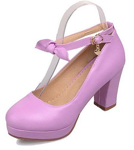 VogueZone009 Femme Matière Souple Rond à Talon Haut Boucle Couleur Unie Chaussures Légeres Violet