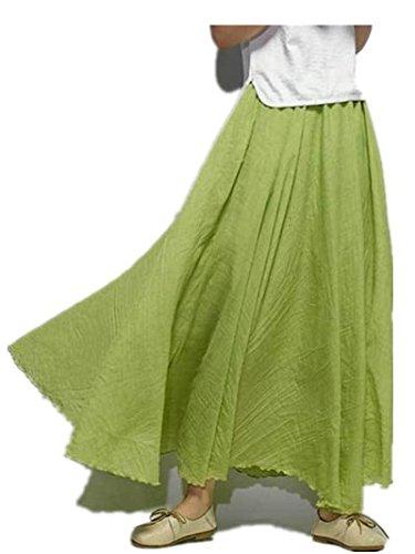 wiBille Baumwolle und Leinen Damen Rock National Stil solide Farbe großen Swing Rock 85cm, grasgrün, Free Size
