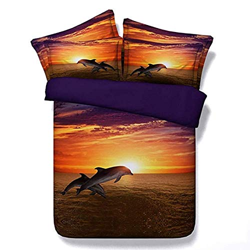 Sticker superb 3D Animal Dinosaurio Niño Algodón Caliente Funda de Edredón para Invierno Otoño, Encantador Delfín Algodón Acogedor Suave Juego de Cama con Funda de Almohada (Delfín 2, 180x220cm)
