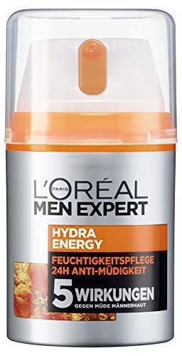 L\'Oreal Men Expert Hydra Energy vitalisierende Feuchtigkeitspflege, für normale und sensible Männerhaut, 24H Anti-Müdigkeit mit Vitamin C und Guarana (2 x 50 ml)