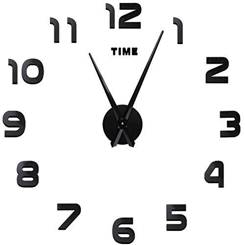 Soledì orologio da parete orologio parete adesivo 3d decorazione per casa ufficio hotel ristorante fai da te riempire vuoto parete 3d orologio (argento e nero)