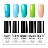 Rosalind Gel-Nagellack, 5 x 7 ml, Farben-Serie, leuchtende, bunte Gel-Nagellacke zum Stempeln, Gel-Nagellack, Soak-Off, langlebige Gel-Nagellacke