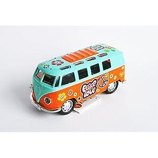 Anik-Shop VOLKSWAGEN Bus T1 FLOWER POWER VW mit Licht/Ton Modell 4Var Modellauto Hippie 01 (Orange/Türkis)