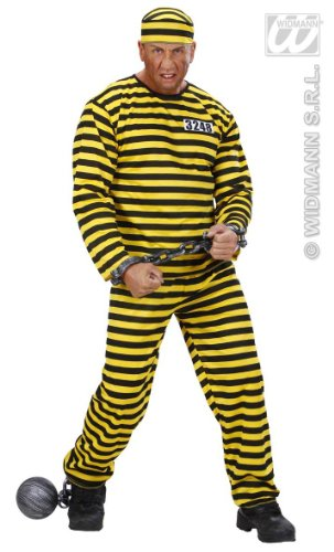 KOSTÜM - GEFANGENER - gelb/schwarz Größe 54 (Gefangener Kostüme Männer Halloween)