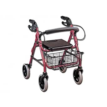GIMA Deambulatore a 4 rotelle con freni, sedile e cestello, per anziani per uso esterno