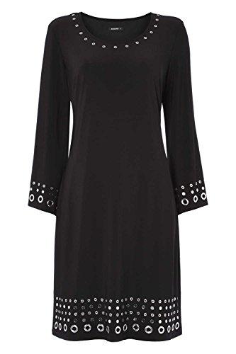 Roman Originals - Robe Femme Manches Amples avec œillets Col rond - Noir Noir