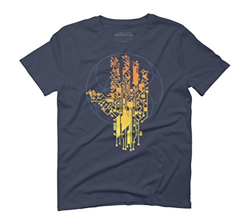 Cyborg Hand Men's Graphic T-Shirt - Design By Humans Navy