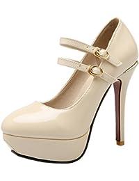 Damen Knöchelriemchen Pumps Mary Janes Plateau Stiletto High Heels Hochzeit Abendschuhe Aiyoumei HTaCsWY3eJ