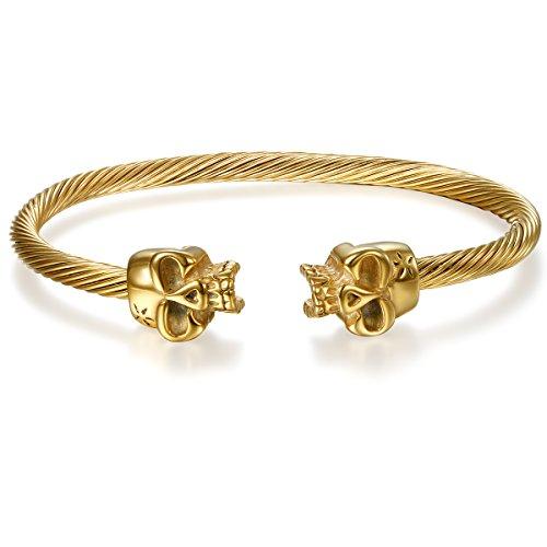JewelryWe Schmuck Herren Armband, Einzigartig Doppelt Totenkopf Schädel verdreht Draht Kabel Einstellbar Armreif Armschmuck, Edelstahl, Gold