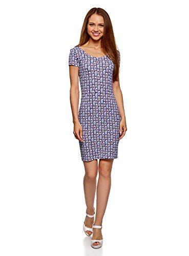 oodji Collection Damen Enges Kleid mit Tiefem Ausschnitt am Rücken, Violett, DE 36 / EU 38 / S (Lavendel-kleid-schuhe)
