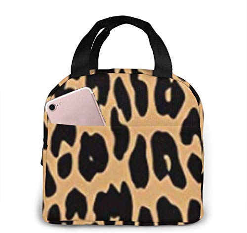 SDFSDF Lunchpaket, Isolierte Lunchbox, Cool Animal Leopard Print Portable Insulated Lunch Bag Waterproof Lunch Handbag Food Zipper Storage Lunch Box Keep Warm 4H with Front Pocket